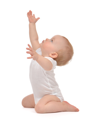 Infant child baby toddler sitting raise hands up